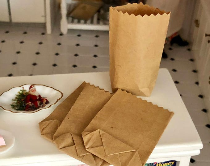 Miniature Bags, Tiny Kraft Bags, Dollhouse Grocery Bag Size #07, Dollhouse Miniature, 1:12 Scale, Accessory, Decor, Crafts, Mini Paper Bag