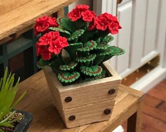 Miniature Geraniums, Red Geraniums in Square Wood Planter Box, Dollhouse Miniature, 1:12 Scale, Dollhouse Flowers, Accessory, Decor