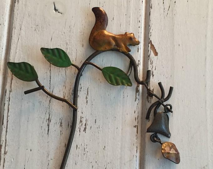 Mini Squirrel Wind Chime on Shepherds Hook, Fairy Garden Accessory, Miniature Garden Decor, Metal Garden Decor