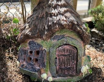 "Fairy Garden House, ""Ribbets Ridge"" Cottage, Mini House With Working Door, Fairy Garden, Miniature Home and Garden Decor, Resin House"