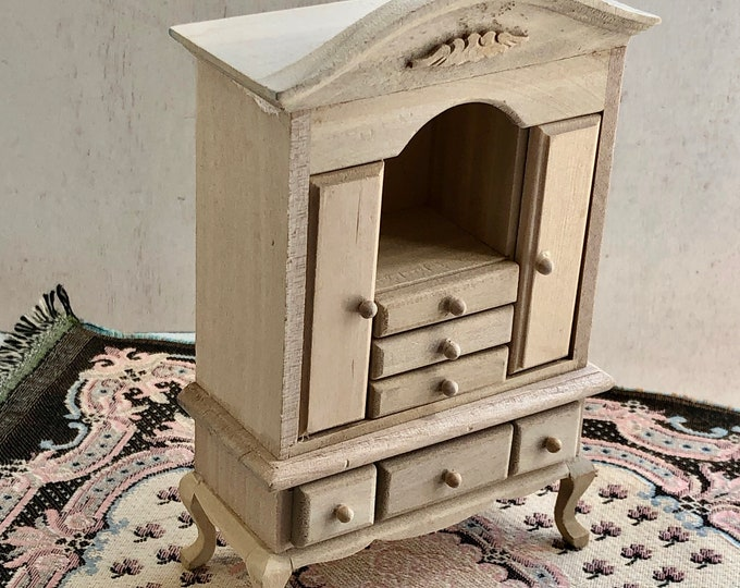 Miniature Unfinished Wood Dresser, Hutch, Dollhouse Miniature Furniture, 1:12 Scale, Dresser with Drawers, Doors and Shelf