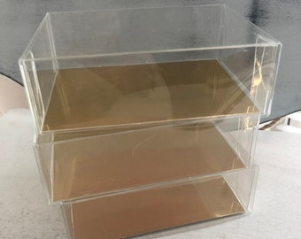 PVC Boxes With Flat Gold Card Insert, Set of 3, 4.5 x 3.25x1.5 Inches, Small Clear Box, Small Clear Top and Bottom Boxes