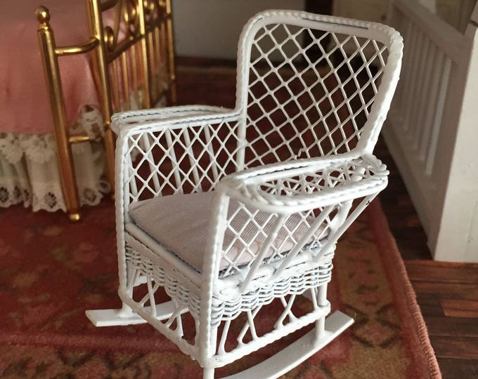 Miniature Rocking Chair, Magazine Rocker, White Metal Chair, Dollhouse Miniature Furniture, 1:12 Scale, Mini Rocking Chair with Side Bins