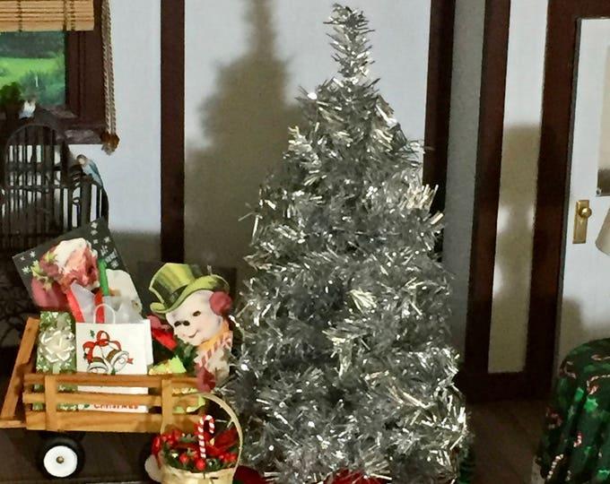 Miniature Christmas Tree, 7 Inch Silver Christmas Tree, Dollhouse Miniature, 1:12 Scale, Dollhouse Holiday Decor, Tree by Dollhouse Shoppe