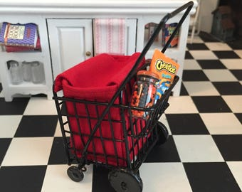 Miniature Grocery Cart with Red Bag, Dollhouse Miniature, 1:12 Scale, Mini Cart With Wheels, Dollhouse Decor, Accessory, Crafts, Topper