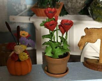 Miniature Anemone, Flower in Clay Pot,  Dollhouse Miniature, 1:12 Scale, Mini Flowers, Dollhouse Accessory, Decor, Mini Flower Pot