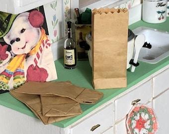 Miniature Bags, Tiny Kraft Bags, Dollhouse Grocery Bags, Size #15, Dollhouse Miniature, 1:12 Scale, Dollhouse Accessory, Decor, Crafts