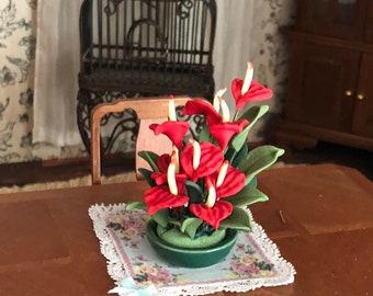 Miniature Red Anthuriums in Ceramic Planter,  Dollhouse Miniature, 1:12 Scale, Dollhouse Accessory, Home & Garden Decor