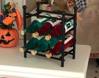 Miniature Wine Rack With Wine Bottles, Black Metal Wine Rack, Dollhouse Miniatures, 1:12 Scale, Dollhouse Accessories, Decor, Mini Wine