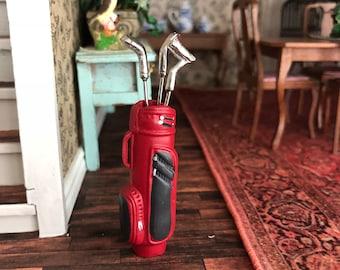 Miniature Golf Club Set, Mini Bag and 3 Clubs, Dollhouse Miniatures, 1:12 Scale, Dollhouse Accessory, Decor, Crafts, Topper, Mini Golf
