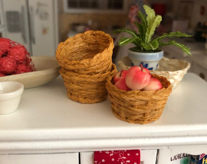 Miniature Basket, Round Basket, Style 72, Dollhouse Miniature, 1:12 Scale, Mini Basket, Dollhouse Accessory, Decor, Crafts