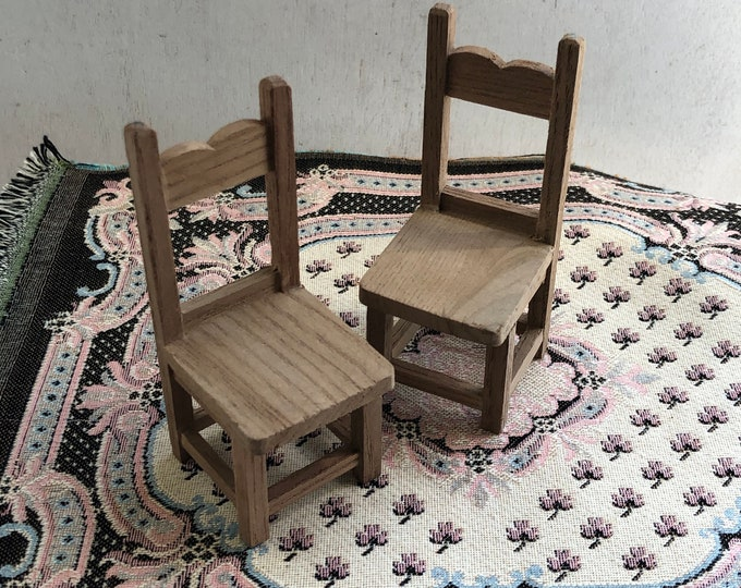 Miniature Unfinished Wood Chairs, Set of 2 Kitchen Dining Chairs, Dollhouse Miniature Furniture, 1:12 Scale, Wood Chairs
