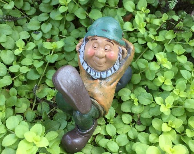 Mini Sleeping Gnome Figurine, Miniature Garden Gnome, Napping Gnome, Home and Garden Decor, Topper, Shelf Sitter