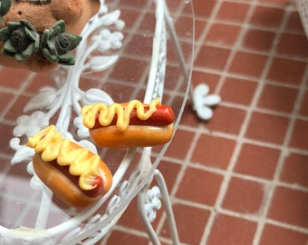 Miniature Hot Dogs, Set of 2. Hot Dogs On Bun With Mustard, Dollhouse Miniatures, 1:12 Scale, Miniature Food, Pretend Food