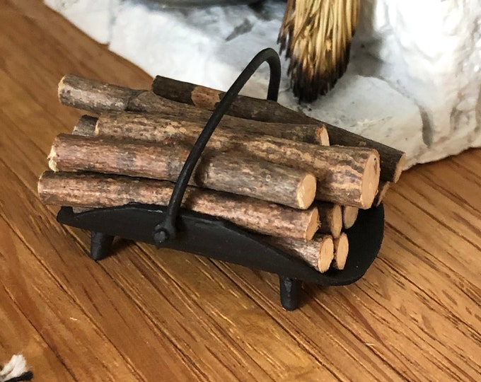 Miniature Fireplace Log Holder with Logs, Dollhouse Miniature, 1:12 Scale, Dollhouse Decor, Accessory