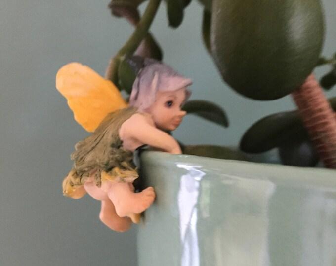 Fairy Baby Flower Pot Hugger Figurine, Mini Fairy, Home and Garden Decor, Mini Fairy Baby, Climbing Fairy