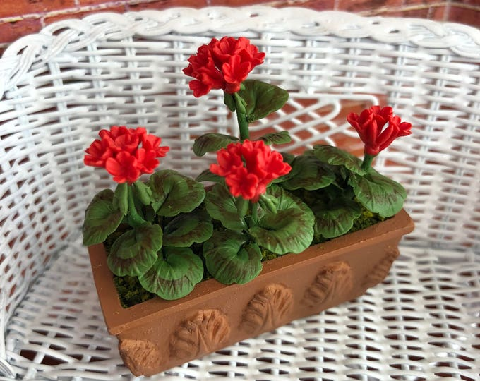 Miniature Geraniums, Red Geraniums in Clay Look Window Box #08, Dollhouse Miniature, 1:12 Scale, Dollhouse Accessory, Home & Garden Decor