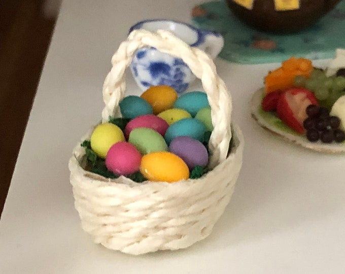Miniature Easter Basket with Eggs, Colored Eggs in White Basket, Dollhouse Miniature, 1:12 Scale, Easter Decor, Mini Basket with Eggs