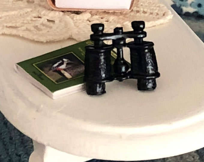 Miniature Binoculars, Dollhouse Miniature, 1:12 Scale, Black Binoculars, Dollhouse Accessory, Decor, Crafts
