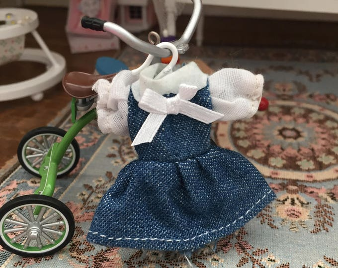 Miniature Dress, Little Girl Denim Dress with Blouse, Dollhouse Miniature, 1:12 Scale, Dollhouse Clothes, Dollhouse Accessory, Decor