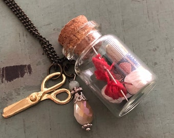 Glass Cork Top Jar Necklace, Knitting and Yarn in Jar, Style #JF7-3, Mini Scissors Chain with Yarn Filled Jar, Knitting, Knitters Gift