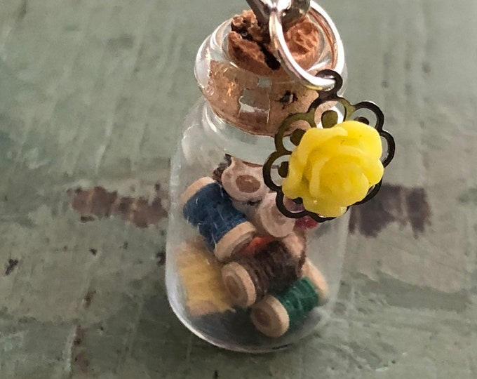 Mini Glass Cork Top Jar Filled with Wood Thread Spools, Necklace Pendant/Charm, Ready for Hanging, Includes Mini Yellow Rose Charm