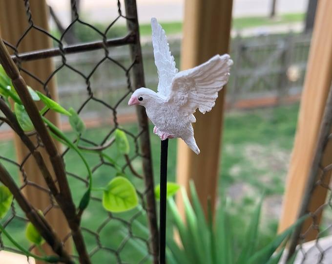 Dove Pick, Mini Bird Garden Pick, Miniature Flying Dove Bird Figurine, Fairy Garden Accessory, Miniature Home & Garden Decor, Crafts