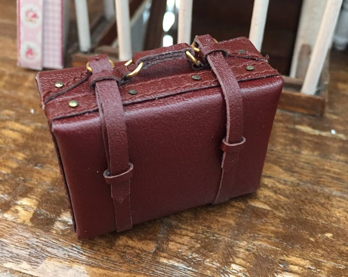 Miniature Suitcase, Small Faux Leather Suitcase, Mini Luggage, Style 1492, Dollhouse Miniature, 1:12 Scale, Mini Brown Suitcase