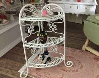 Miniature White Corner Stand, Mini Shelf Rack, Dollhouse Miniature, 1:12 Scale, Dollhouse Furniture, Mini White Shelves