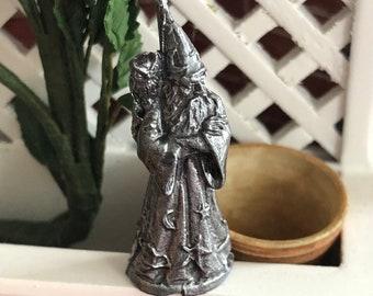 Miniature Wizard with Owl Pewter Figurine, Garden Decor, Statue, Dollhouse Miniature, Mini Wizard