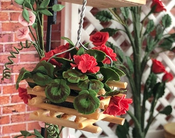 Miniature Geraniums,  Wood Hanging Basket With Red Geraniums, Dollhouse Flowers, Dollhouse Miniature, 1:12 Scale, Mini Flowers, Geraniums