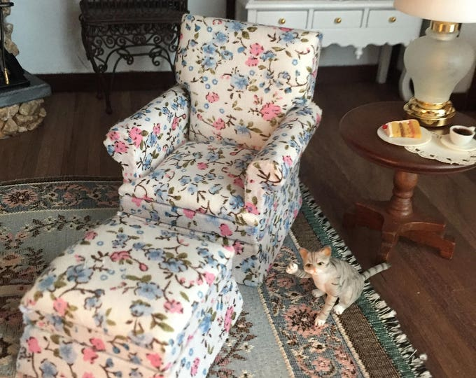 Miniature Chair and Ottoman, Cream, Pink, Blue Floral Fabric, Style 43, Dollhouse Furniture, 1:12 Scale, Dollhouse Furniture, Mini Chair