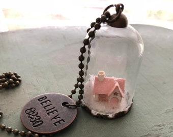 Glass Cork Top Jar Necklace, Mini Putz Style House Under Glass, Style JF10, Mini Dome, Chain, Charms, Christmas Necklace, Orn, Decor, Gift