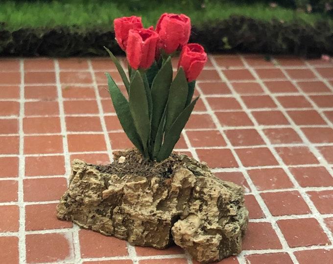 Miniature Tulips, Tulips on Rock, Miniature Flowers, Dollhouse Miniature, 1:12 Scale, Dollhouse Decor, Accessory