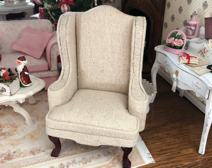 Miniature  Armchair, Beige Fabric Covered Arm Chair, Dollhouse Miniature Furniture, 1:12 Scale, Mini Chair, Dollhouse Decor