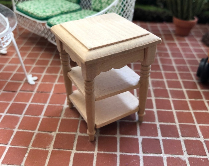 Miniature Unfinished Wood Side Table, Mini Table With Middle and Bottom Shelf, Dollhouse Miniature Furniture, 1:12 Scale