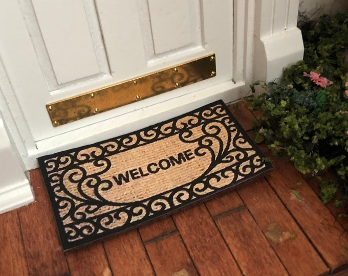 Miniature Welcome Mat, Dollhouse Miniature, 1:12 Scale, Mini Rug, Dollhouse Accessory, Decor, Crafts, Embellishment