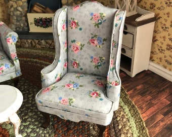 Miniature  Armchair, Gray Floral Fabric Chair With Walnut Legs, Dollhouse Miniature Furniture, 1:12 Scale, Mini Chair, Dollhouse Decor