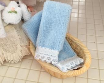 Miniature Blue Towels With Ribbon and Lace Edge, Dollhouse Miniature, 1:12 Scale, Dollhouse Accessory, Bathroom Decor, Mini Towel Set
