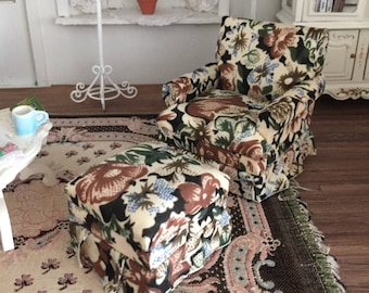 Miniature Chair and Ottoman, Cream and Brown Floral Print Fabric, #94,  Dollhouse Furniture, 1:12 Scale, Dollhouse Furniture, Mini Chair