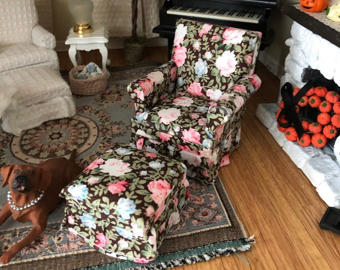 Miniature Chair and Ottoman, Brown Floral Rose Print Fabric, #71,  Dollhouse Furniture, 1:12 Scale, Dollhouse Furniture, Mini Chair