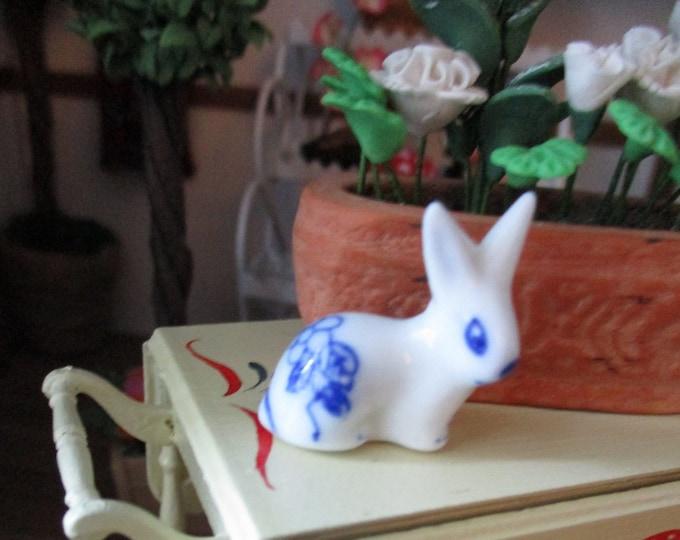 Miniature Bunny Rabbit Figurine, Mini Porcelain Bunny Style #83, Dollhouse Miniature, 1:12 Scale, Dollhouse Decor, Accessory