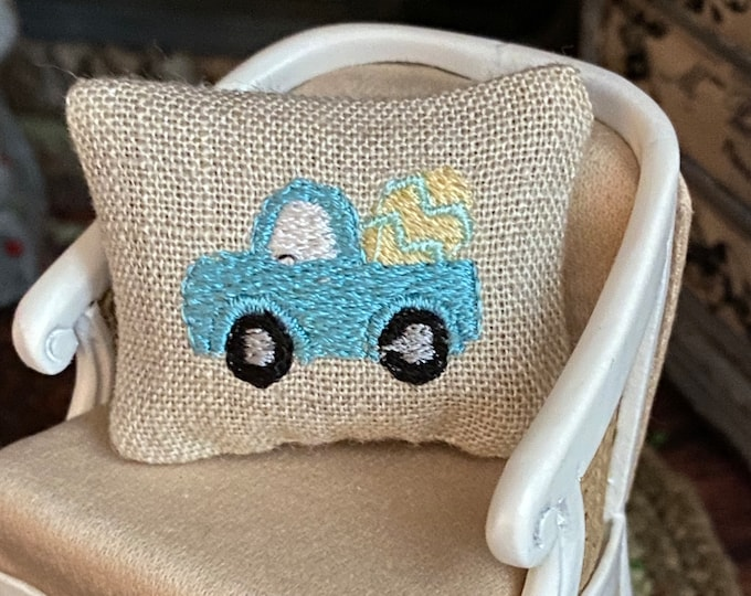 Miniature Pillow, Mini Truck With Easter Egg, Embroidered Pillow, Dollhouse Miniature, 1:12 Scale, Tiny Pillow, Easter Decor