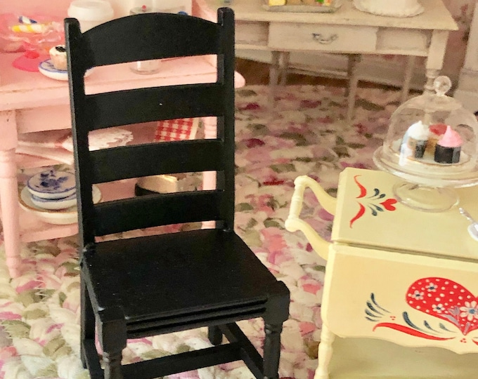 Miniature Chair, Black Ladder Back Side Kitchen Chair, Style #99, Dollhouse Miniature Furniture, 1:12 Scale Miniature Wood Chair