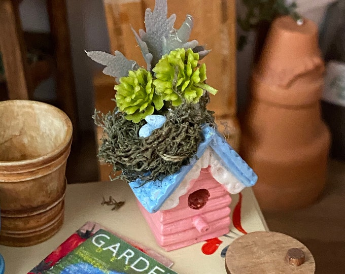 Miniature Decorated Birdhouse, Mini Bird House with Nest, Eggs and Greenery, Dollhouse Miniature, 1:12 Scale, Dollhouse Accessory Decor