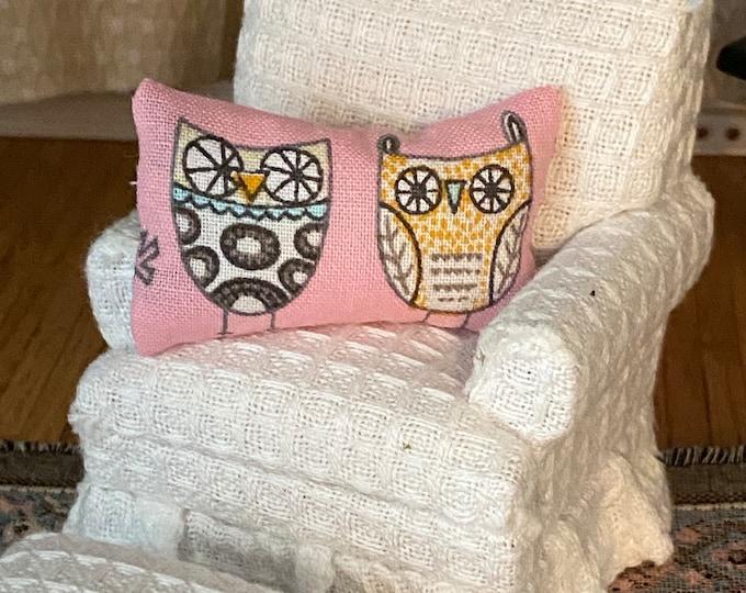 Miniature Owl Pillow, Mini Decorative Pillow, Dollhouse Miniature, 1:12 Scale, Dollhouse Accessory, Decor