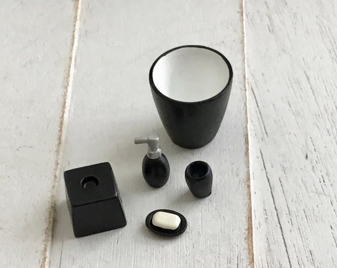Miniature Black Bathroom Set, Soap Bottle, Cup, Waste Basket, Soap, and Tissue Holder Dollhouse Miniatures, 1:12 Scale, Bathroom Decor