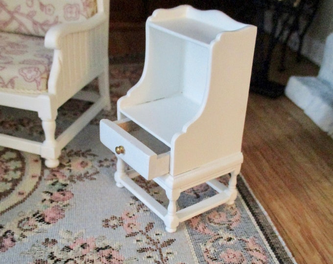 Miniature JBM End Table, Mini White Wood End Table With Drawer, Dollhouse Miniature Furniture, 1:12 Scale, Dollhouse Decor