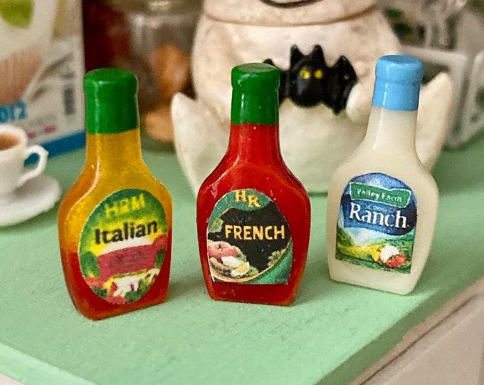 Miniature Salad Dressing Set, 3 Pieces, Miniature Food Bottles, Dollhouse Miniatures, 1:12 Scale, Dollhouse Accessory, Decor, Mini Bottles