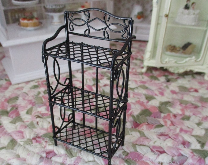 Miniature 3 Shelf Unit, Black Metal Shelf Unit Rack, Style #05, Dollhouse Miniature Furniture, 1:12 Scale, Mini Shelf